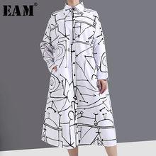 [Eem] kadınlar beyaz desen baskılı büyük boy elbise yeni yaka uzun kollu gevşek Fit moda gelgit bahar sonbahar 2021 1Y744