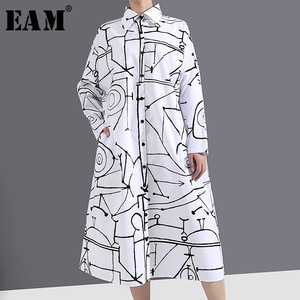 [EAM] Women White Pattern Printed Big Size Shirt Dress New Lapel Long Sleeve Loose Fit Fashion Tide Spring Autumn 2020 1Y744