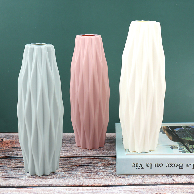 Flower Vase White Imitation Ceramic Flower Pot Decoration Home Plastic Vase 4