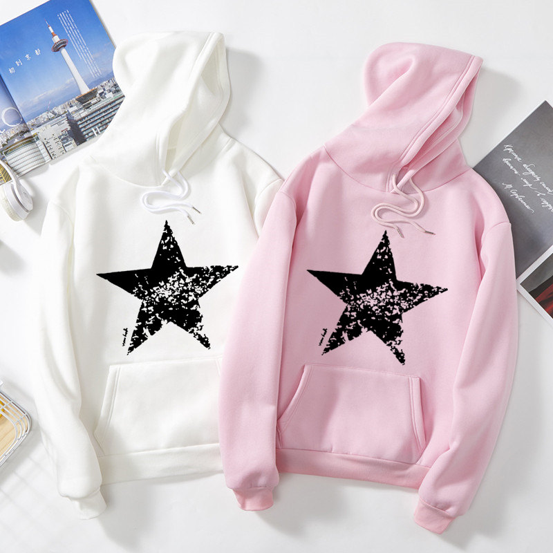 S6536 2020 Fashion Autumn And Spring Woman & Man Pattern Sweatshirt Ladies Hoodies Boys Casual Tops Woman Star Printing Coat