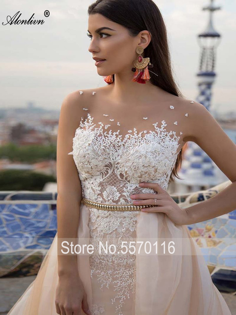 Alonlivn Elegant 2 In 1 Wedding Dress Champagne Tulle With Gold Belt Removable Train Appliques Lace Sleeveless Bridal Gowns 3