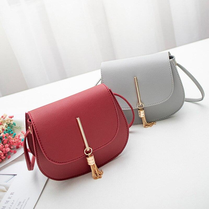 LISM 2019 mini ladies Messenger bag PU leather ladies tassel shoulder bag clutch bag chain ladies Messenger bag handbag