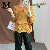 High Quality Blouse Japanese Frilly Pleated Top with Three Quarter Sleeve New 2019 Temperature loose Shirt Variety of Colors