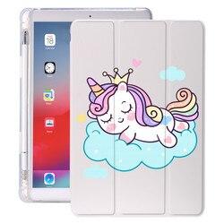 Unicorn Cartoon for iPad Air 4 Case Cute Pencil Holder 10.2 8th 2020 7th 12.9 Pro 11 2018 Mini 5 Cover Silicone 10.5 Air 1 Funda