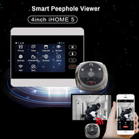 iHome5 WiFi 1080P HD Door Viewer 4 LCD Screen GSM Wireless Camera Alarm Ring Video Eye Call Peephole Doorbell PIR Motion Detect