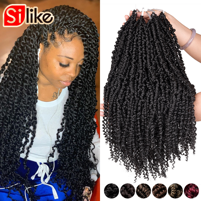 Silike Passion Twist 12 Inch Fluffy Pre-Twist Crochet Braids Ombre Nubian Twists Synthetic Braiding Hair Extension For Women
