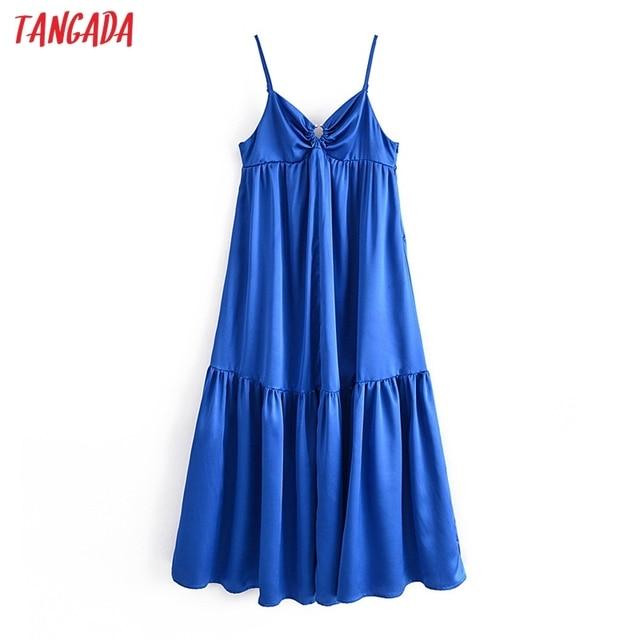 Tangada Women's Party Dress Solid Color Long Dress Strap Adjust Sleeveless 2021 Korean Fashion Lady Elegant Dresses QN62 1