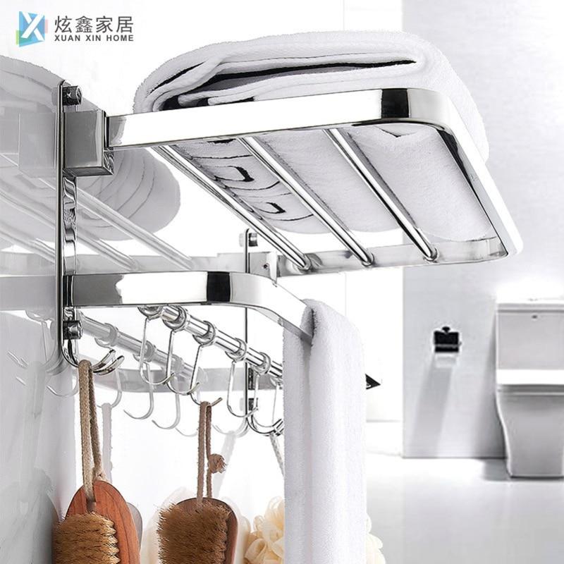 Bathroom Towel Rack Stainless Steel Towel Holder Can Be Folded Multifunctional Hanger Wall Mounted Towel Shelf With Hook