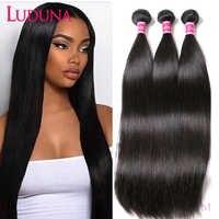 Luduna-mechones de cabello lacio brasileño, extensiones de cabello humano Remy, 1/3/4, ofertas de extensiones, tejido de doble trama