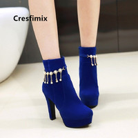 Cresfimix Lady Fashion Navy Blue Plus Size 34 to 43 High Quality Autumn High Heel Boots Women Casual Winter Stylish Boots C6091