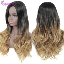 Brown Wig Synthetic-Wig Afro Heat-Resistant Middle-Part Cosplay Fibre Long-Wavy Ombre