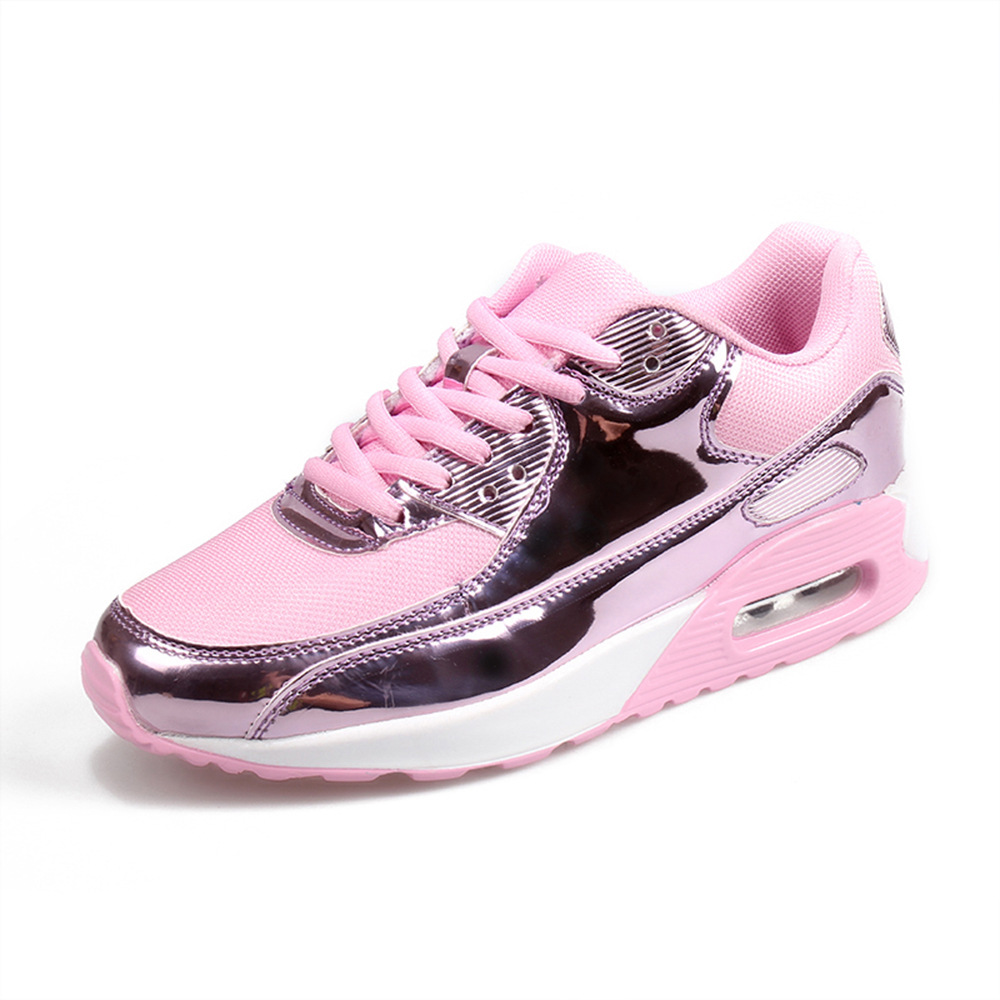 Image 2 - COWCOM Spring  Fashion Air Cushion Sports Shoes Mesh Cloth Breathable Mens Shoes Bright Leisure Running ShoesWomens Vulcanize Shoes   -