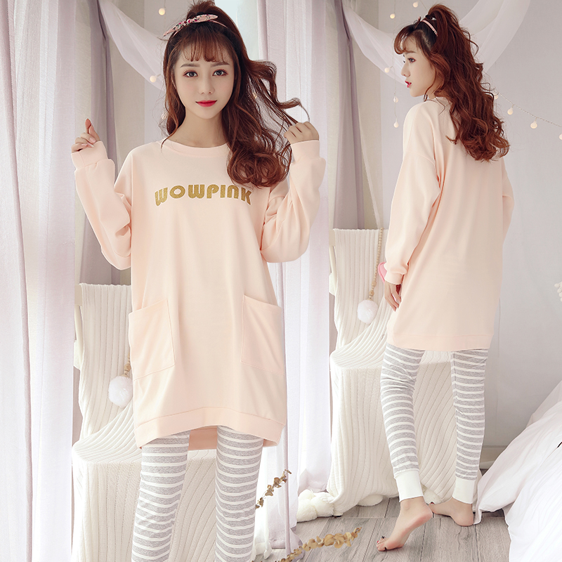 2019 Spring Autumn 100% Cotton Pajama Sets For Women Long Sleeve Pyjama Cute Girls Striped Pants Sleepwear Pijama Mujer Homewear