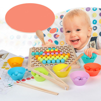 Beads Game Montessori Early Childhood Children Wooden Clip Ball Puzzle Parent-child Interactive Toys For Children Gifts flyingtown montessori teaching aids balance scale baby balance game early education wooden puzzle children toys