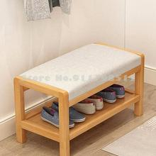 Shoe Stool Solid-Wood Simple Household Cushion The You-Can-Sit Soft-Bag At The-Door