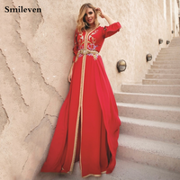 Smileven Elegant Red Moroccan Kaftan Evening Dress Long Sleeve Gold Lace Muslim Party Dress Long Dubai Special Occasion Dresses