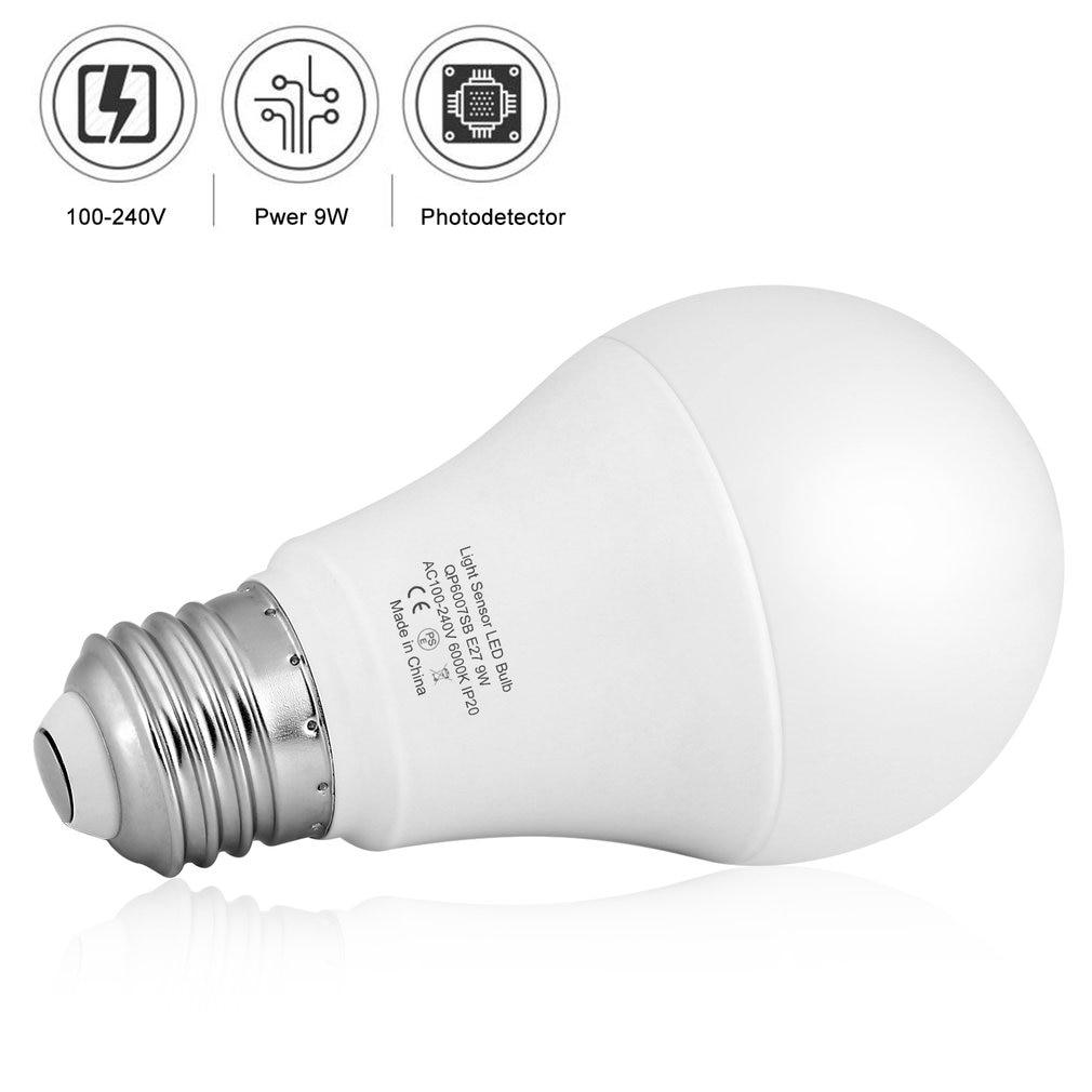 9 w e27 sensor de luz inteligente lâmpada led 6000 k com interruptor automático sensor de detecção de fotosensor embutido para interior ao ar livre