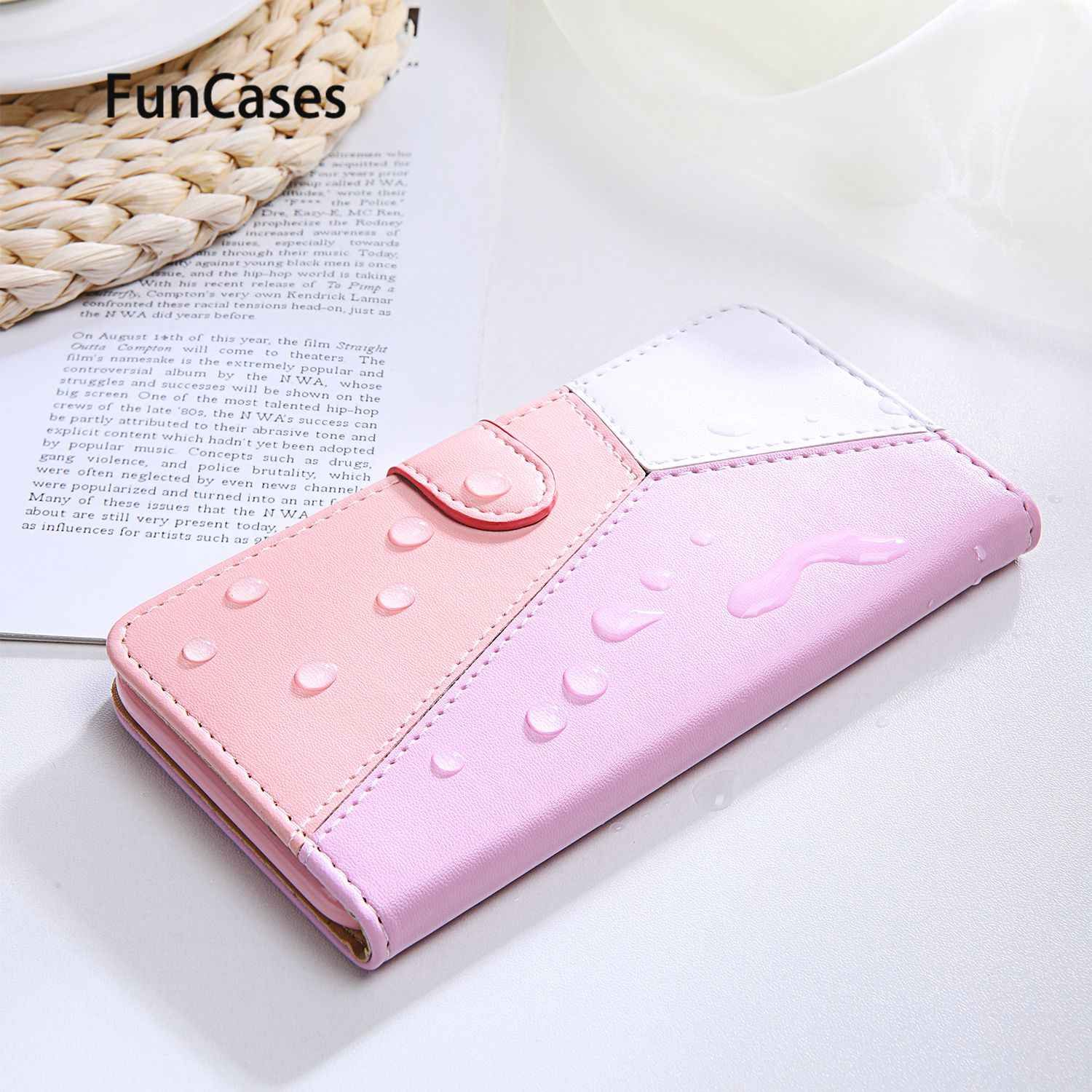 Pink Mobile Phone Covers For estuche Oneplus 7T Pro PU Leather Wallet Case sFor Protector Oneplus coque 7 Pro 7T Hoesje 1+7 Pro