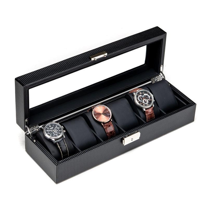 2019 nouveau boîtier de rangement de montre en fibre de carbone boîte noir 6 fentes PU montre organisateur avec serrure montre boîtes de rangement bijoux boîte-cadeau
