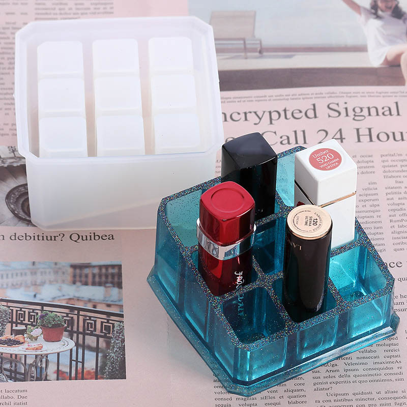Portable Food Grade 9/12 Grids Multi-functional Pen Tools Storage Rack  Epoxy Mould Silicone DIY Mold Lipstick Storage Box