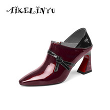 AIKELINYU Fashion High Heels Women Pumps Square Head Footwear Genuine Leather Ladies Shoes Woman Autumn 2019 New