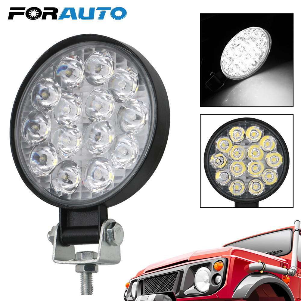 FORAUTO 4x4 Off Road Driving Light Spot Beam Round LED Light Bar 42W LED Work Light Super Bright For Truck Tractor