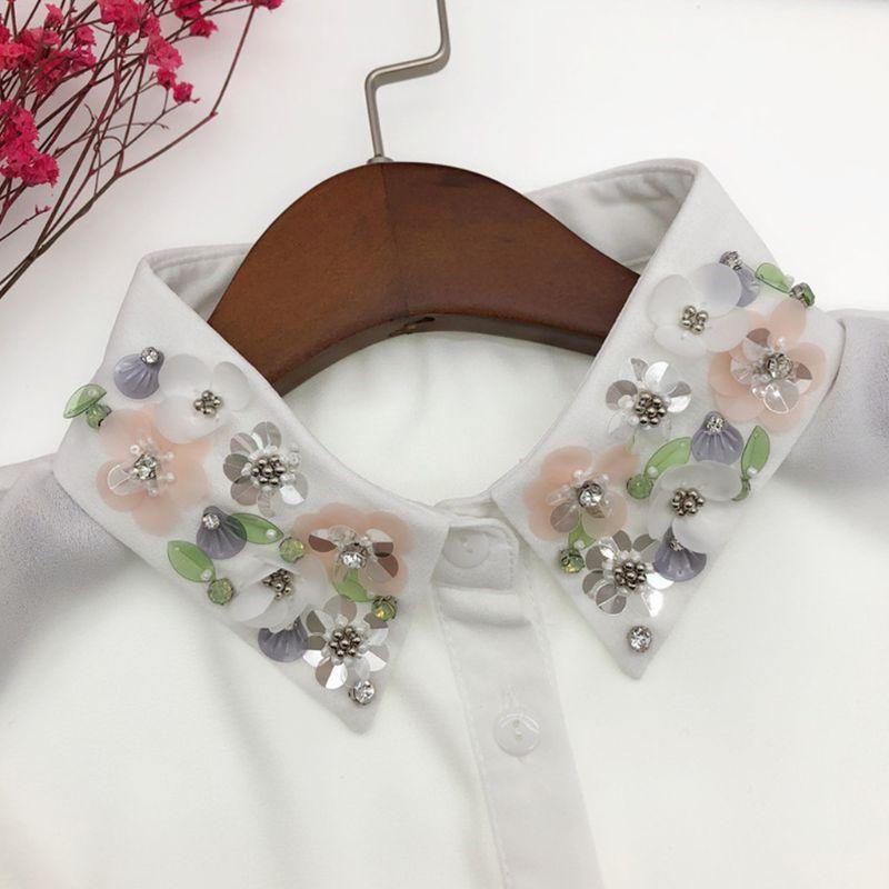 Womens Detachable Blouse False Collar Handmade Beading Rhinestone Sequins Flower Lapel Adjustable Half-Shirt Necklace 449F