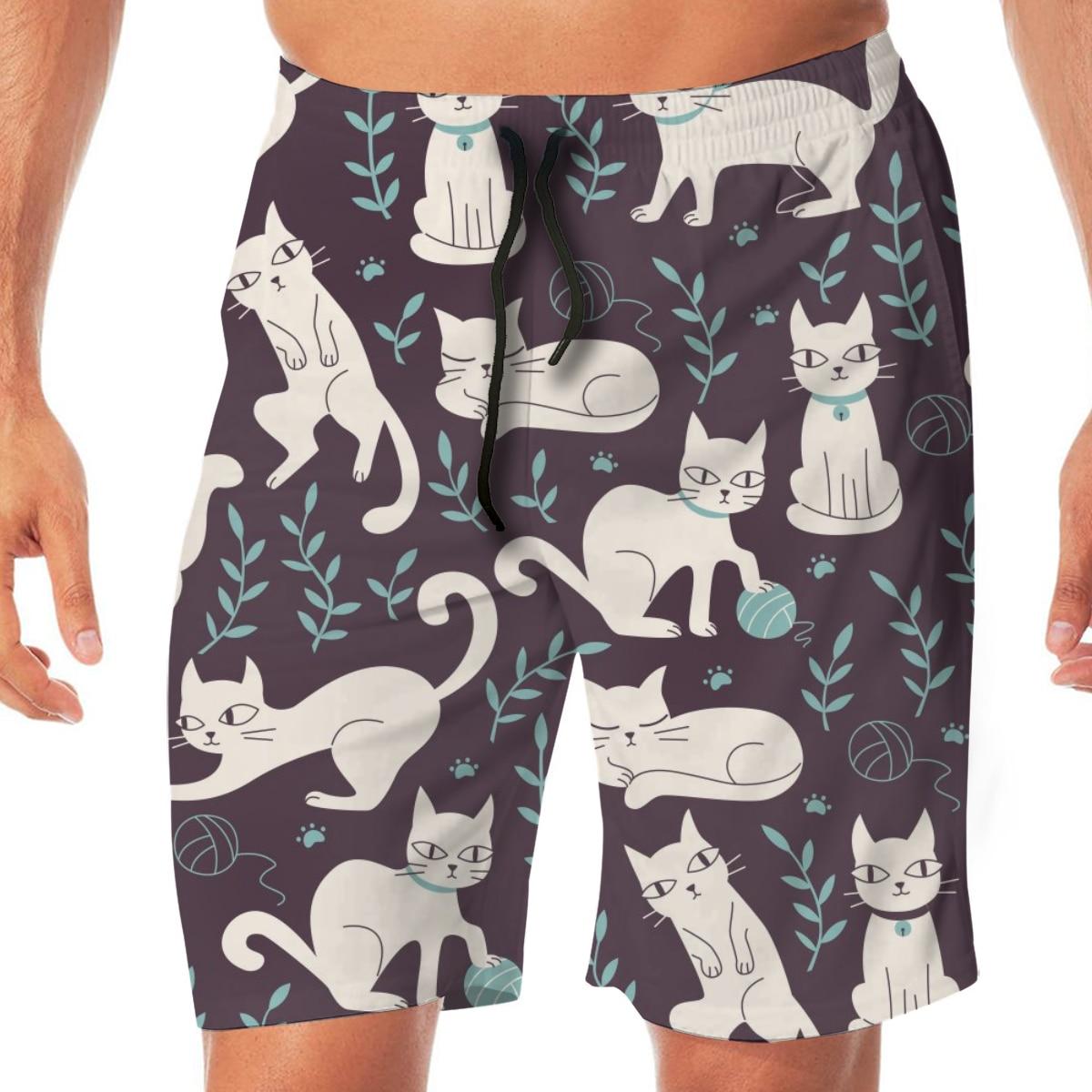 Cute Cats Purple Print Mens Swimsuit Swimwear Men Swimming Shorts Beach Short Sports Suits Surf Board Swim Trunks Beachwear