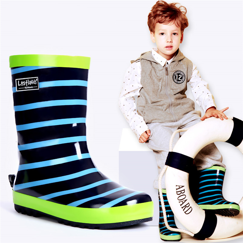 Maggie's Walker Rain Season Boys Rain Shoes Blue Stripes Kids Boy Rain Boots Waterproof Shoes Spring And Autumn Water Overshoes