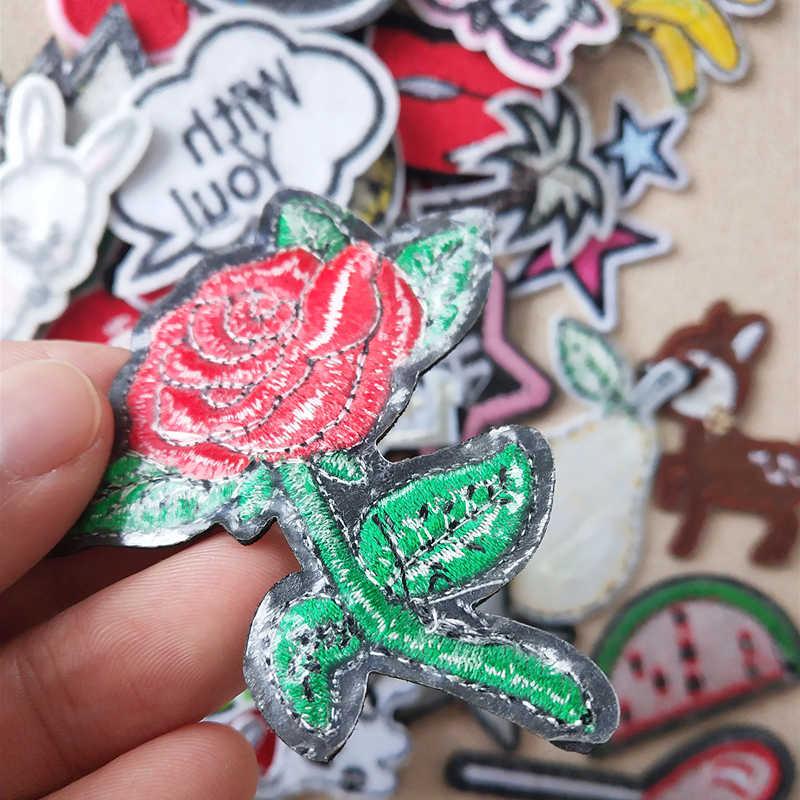 Animale del fumetto Del Ricamo Toppe E Stemmi Per Abbigliamento Ferro FAI DA TE Su Toppe E Stemmi Sui Vestiti di Frutta Patch di Rosa del fiore Su Ordinazione lettera Patch di stella