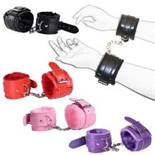 Women Erotic Accessories Adjustable PU Leather Plush Bundle Handcuffs For Sex Game Bdsm Bondage Toys Restraints Hand Cuffs Ankle