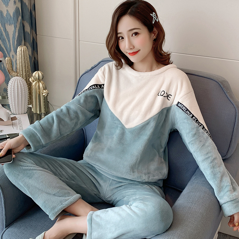 2019 Autumn Winter Women Pajamas Sets Sleepwear Long Sleeve Thick Warm Coral Flannel Female Cartoon Animal Pijama Mujer