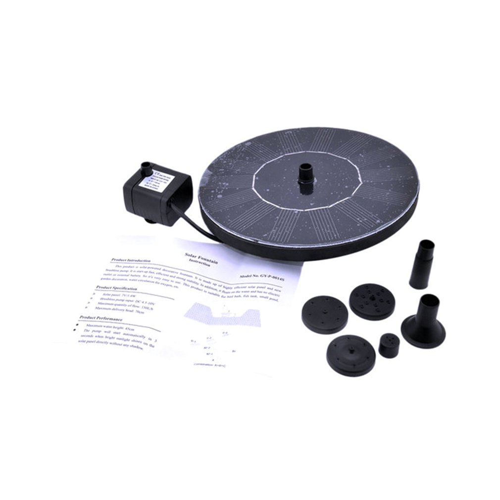 Solar Power Water Fountain Pump Kit For Pool Garden Pond Watering Submersible Round Fountain Pump Portable