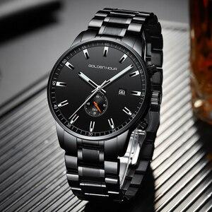 Image 4 - Часы наручные GOLDENHOUR Мужские кварцевые, роскошные брендовые деловые водонепроницаемые Модные