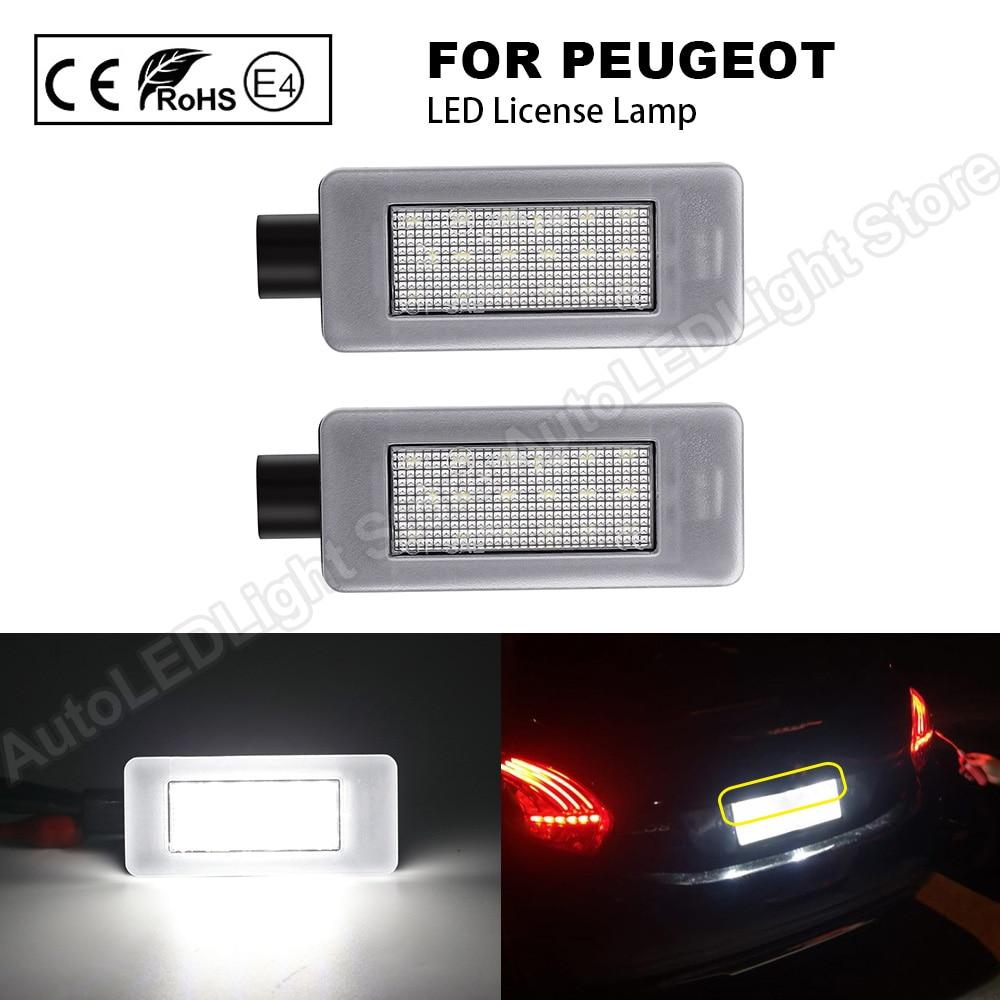 2 uds LED trasera con números de placa de la lámpara de la luz para Peugeot 308 II 2 MK2 3008 II 208, 2008 de 207 CC libre de Error
