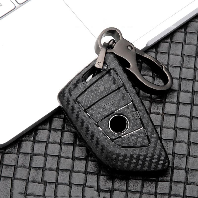 Car Glossy Carbon Fiber ABS Key Case For BMW 1 3 5 7 Series X1 X3 X4 X5 X6 M3 M5 F20 F30 F10 E90 E60 E30 E46 E34 E70 Accessories