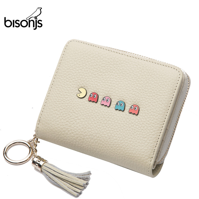 BISON DENIM Genuine Leather Women Mini  Wallet Casual  Personality Hasp Two-Fold Large Capacity Ladies Travel Wallet B3277