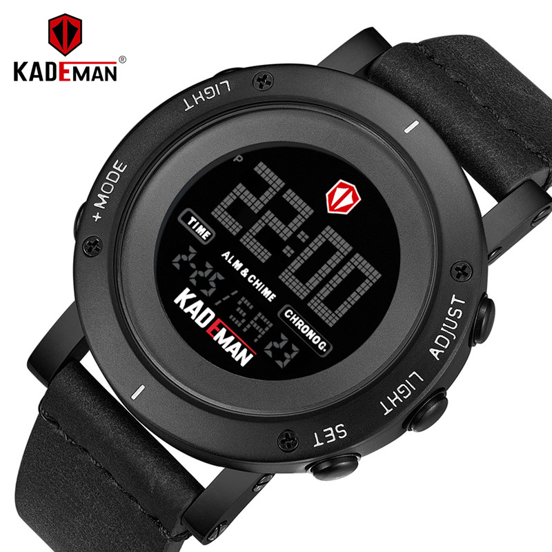 KADEMAN New Fashion Mans Watch Luxury Sport Digital Casual Leather Wristwatch LED Dispaly TOP Brand Waterproof Relogio Masculino