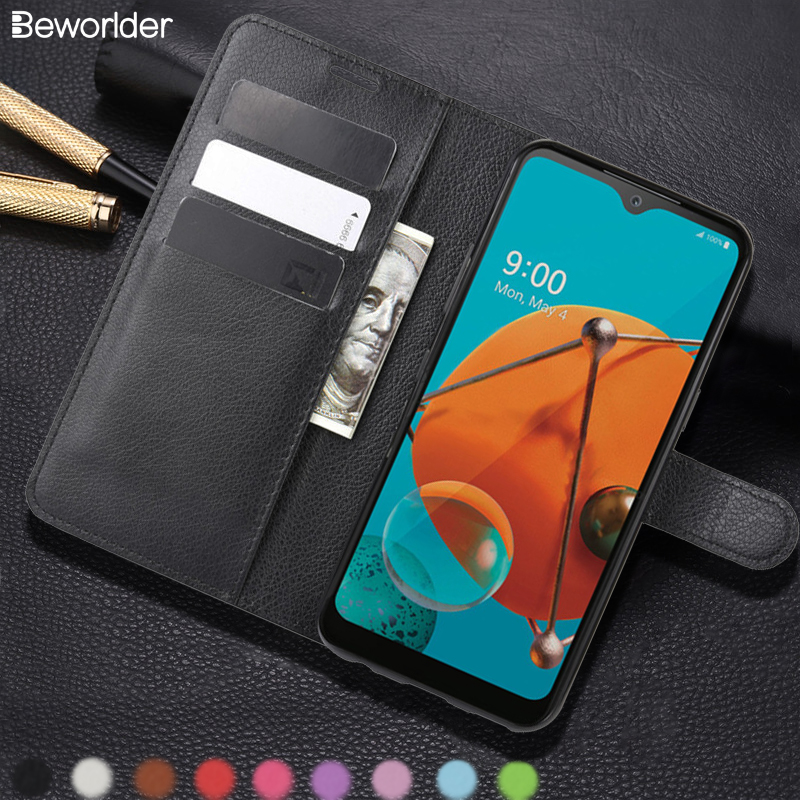 Flip Wallet Phone Bag For LG K51 Case PU Leather Card Slots Stander Lichee Pattern Full Protect Back Cover For LG K61 Cases