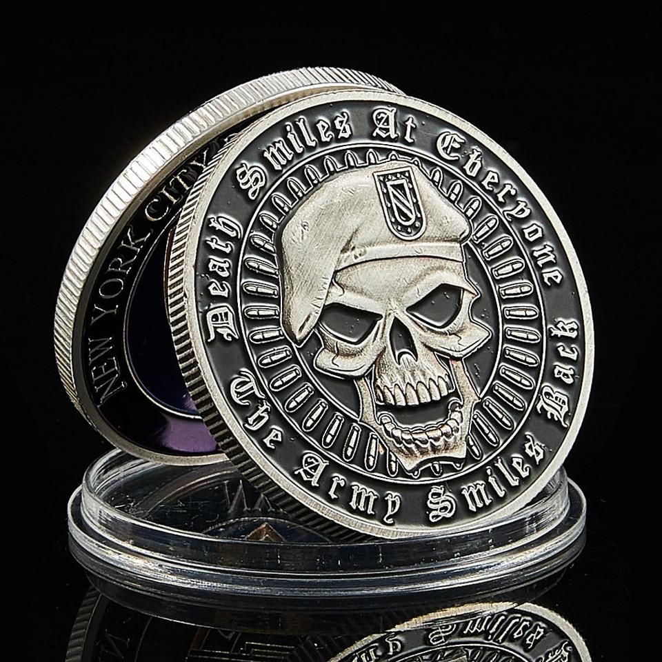 США ВЫЗОВ МОНЕТА металлический череп зеленый берет красочный разделение штата свободная фотография Бога мы доверяем нам монета