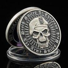 Beret de metal moedas crânio verde colorido eua, departamento de estado livre, liberdade, em deus, confiamos em moedas eua