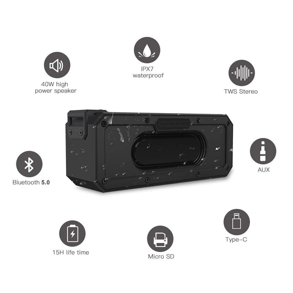Image 3 - IP7X 40W 5.0 Bluetooth Speaker Portátil À Prova D Água Orador  Coluna Subwoofer Super Bass 2.1 Soundbar Sistema de Som Boombox  MúsicaAlto-falantes portáteis