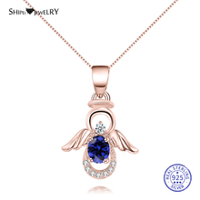 Shipei 100% 925 Sterling Silver Unique White Gold Rose Oval Sapphire Angle Wings Pendant Necklace for Women Christmas Gift