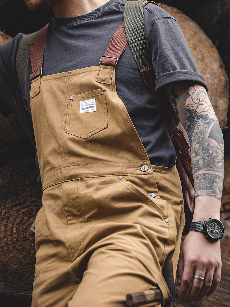 Mens Jumpsuit Overalls Jeans Stitch-Trousers Work-Pants Contrast-Stitch Cargo Maden Vintage