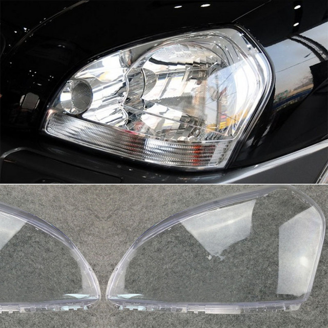 MAYITR 1 Pair Car Headlight Headlamp Clear Lens Shell Cover Left & Right For HYUNDAI TUCSON 2005 2006 2007 2008 2009
