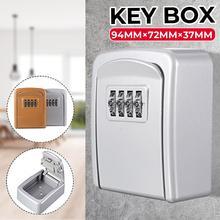 Key Lock Box Wall Mounted Zinc Alloy Key Safe Box Weatherproof 4 Digit Combination Key Storage Lock Box Indoor Outdoor