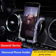2020 novo universal titular do telefone do carro com bing cristal strass ar do carro vent montagem clipe telefone celular titular
