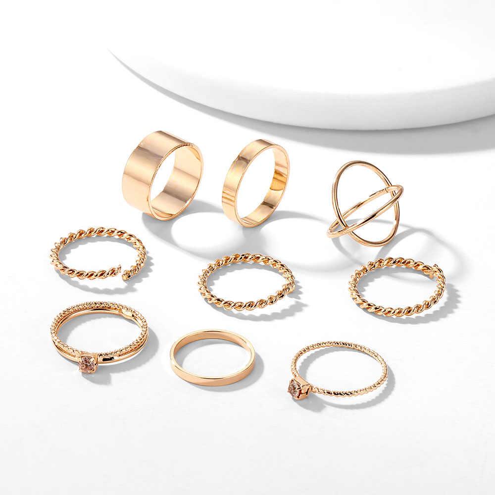 VKME Vintage Twist Gold Sliver zestaw pierścieni Lady okrągły pierścień kobiet Knuckle moda biżuteria ślubna akcesoria