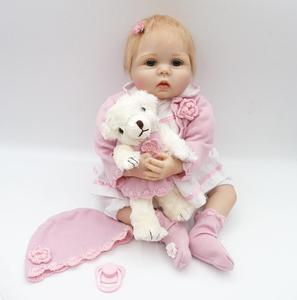 55 cm 22 cali Reborn lalka dziewczynka Handmade miękkiego silikonu winylu noworodka symulacji zabawki magnetyczne prezent bożonarodzeniowy dla dziecka