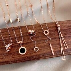 Titanium Steel Chain Butterfly Necklaces For Women Korean Alphanumeric Pendant Necklace Temperament Fashion Jewelry 2020
